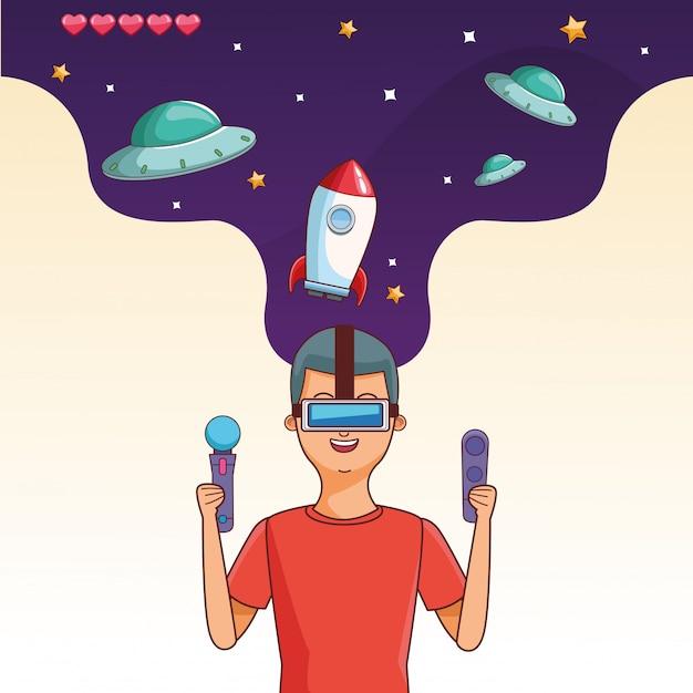 Adolescent avec dessin animé de jeu vidéo Vecteur Premium