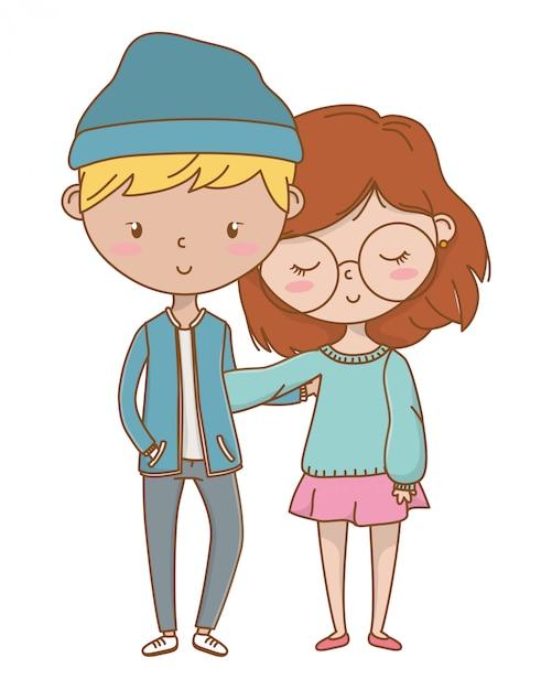 Adolescent garçon et fille de dessin animé Vecteur gratuit