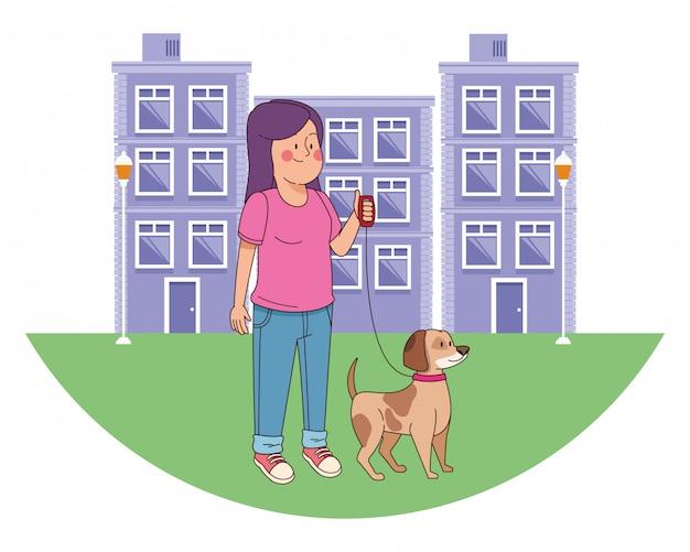 Adolescent souriant et marchant la caricature de chien Vecteur Premium