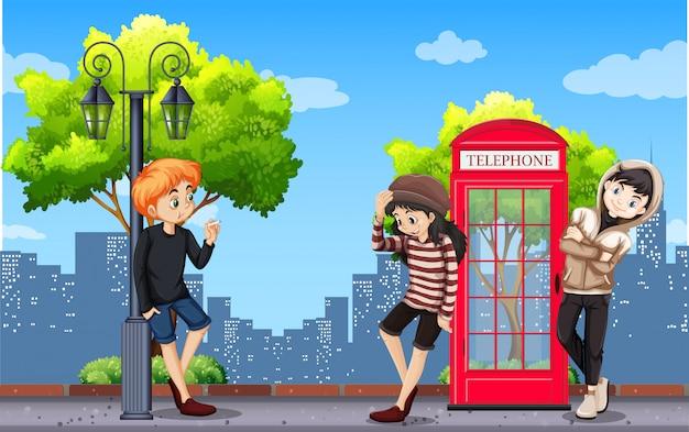 Adolescent urbain en ville Vecteur gratuit
