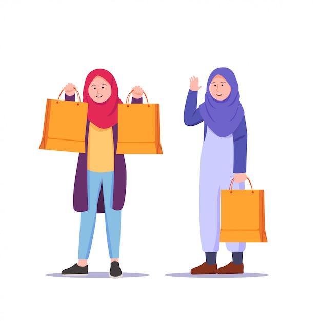 Adolescente fille portant le dessin animé shopping hijab Vecteur Premium
