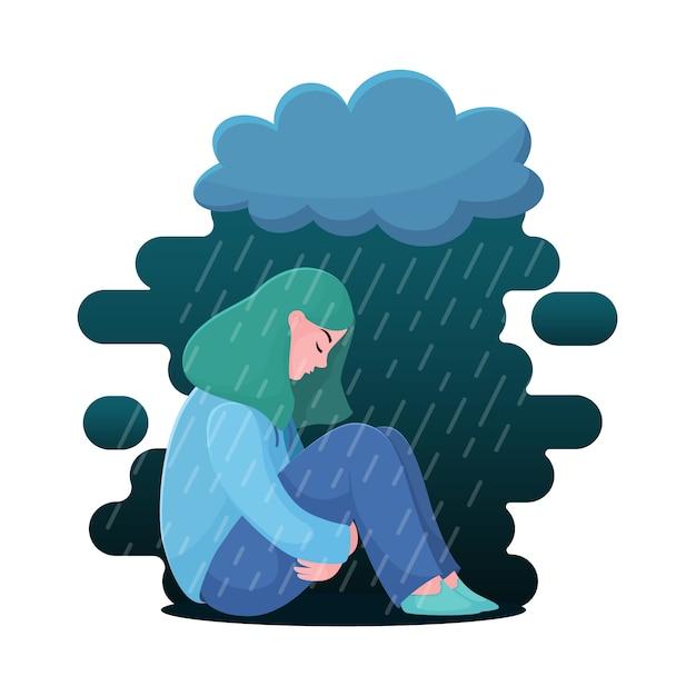 Adolescente triste et malheureuse, jeune femme assise sous la pluie, concept de dépression Vecteur Premium