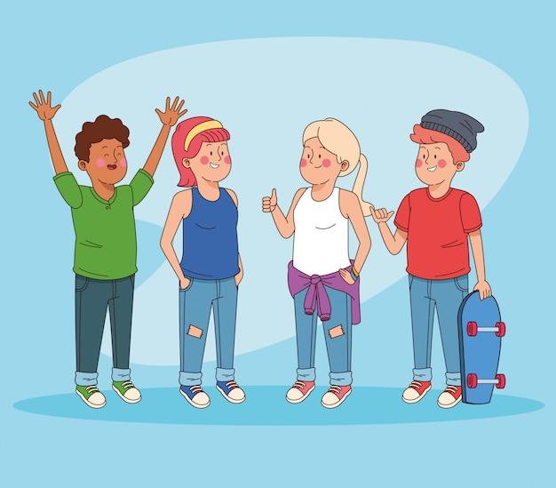 Adolescents amis s'amusant des dessins animés Vecteur gratuit