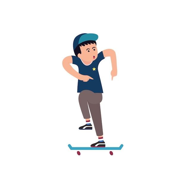 Adolescents jouant au dessin animé de skate Vecteur Premium