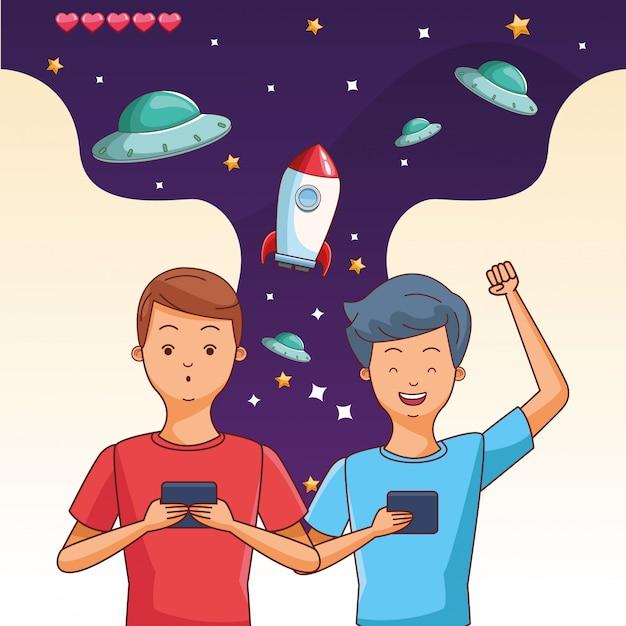 Adolescents jouant à des jeux vidéo Vecteur Premium