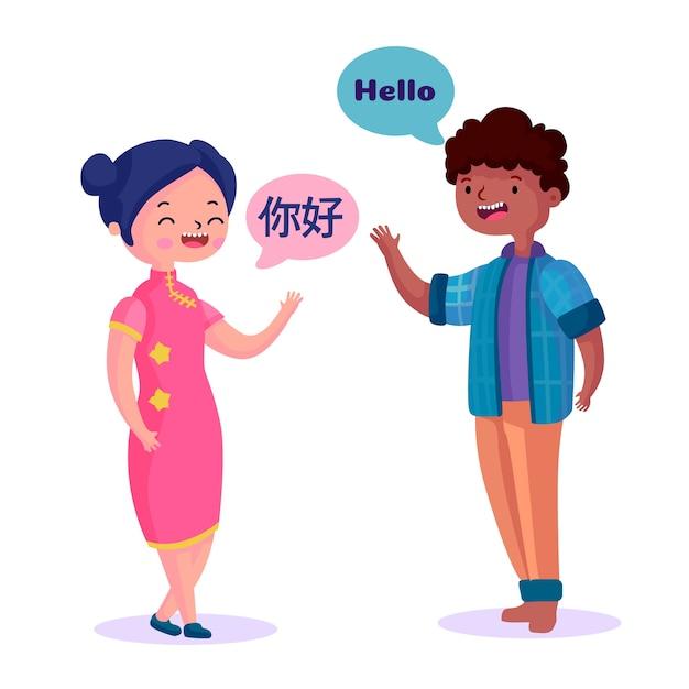 Adolescents parlant dans différentes langues Vecteur gratuit