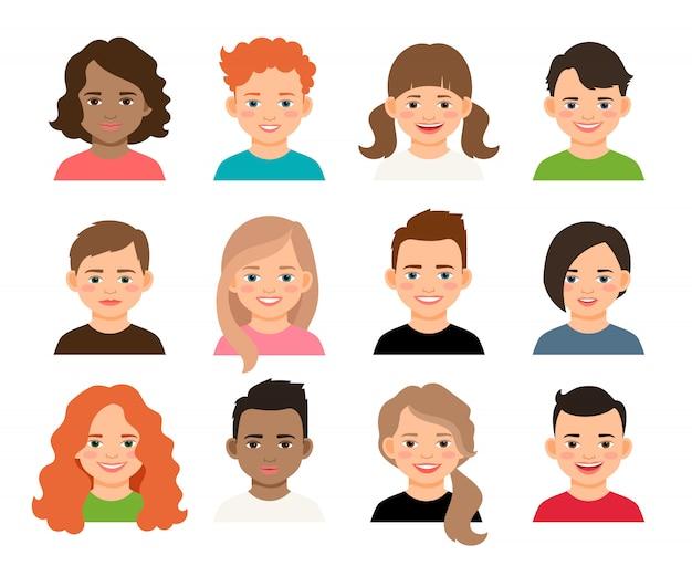 Adolescents de vecteur ou visages d'enfants d'élève. avatars de jeunes adolescentes et garçons isolés Vecteur Premium