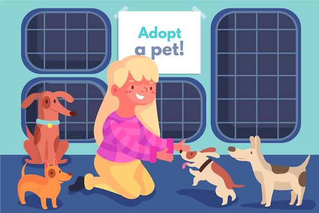 Adoptez Un Animal De Compagnie à L'abri De Divers Chiens Vecteur gratuit