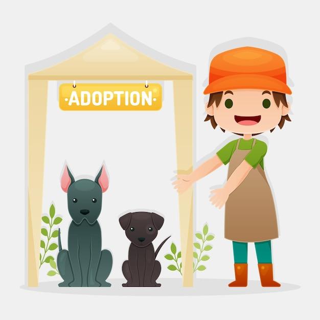 Adoptez Un Concept D'animal De Compagnie Avec Femme Et Chiens Vecteur gratuit