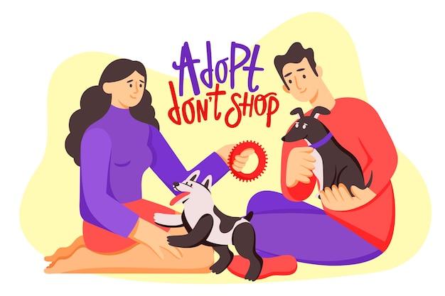 Adoptez Une Illustration Pour Animaux De Compagnie Avec Des Chiens Vecteur gratuit