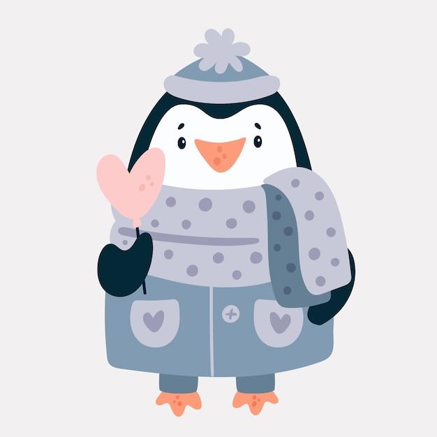 Adorable Bébé Pingouin Personnage Animal Vecteur Premium