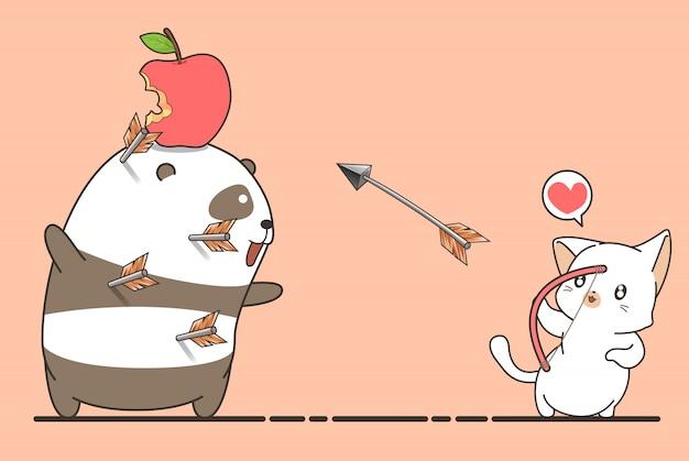 Adorable chat archer tire une pomme Vecteur Premium