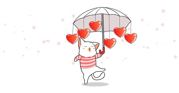 Adorable Chat Tient Un Parapluie Avec Des Coeurs En Saint Valentin Vecteur Premium