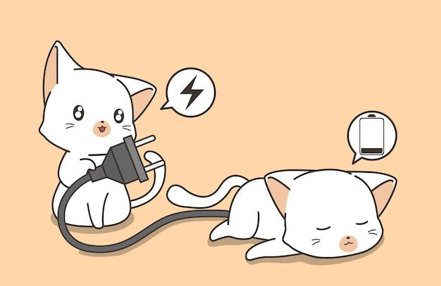 Adorable chat tient la prise et cherche à charger Vecteur Premium