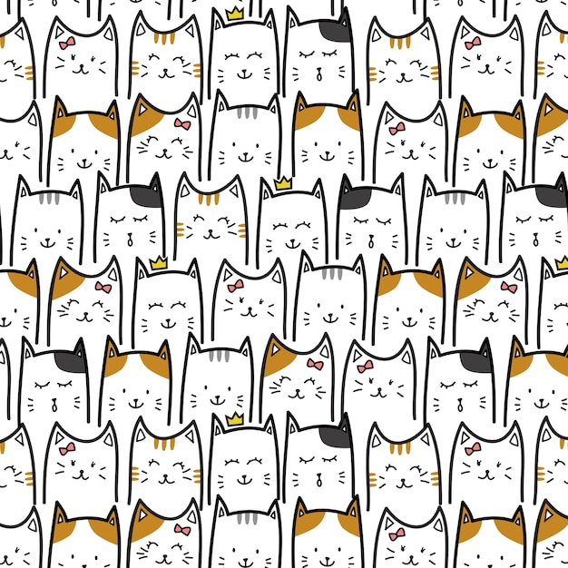 Adorable chaton chat adorable Vecteur Premium