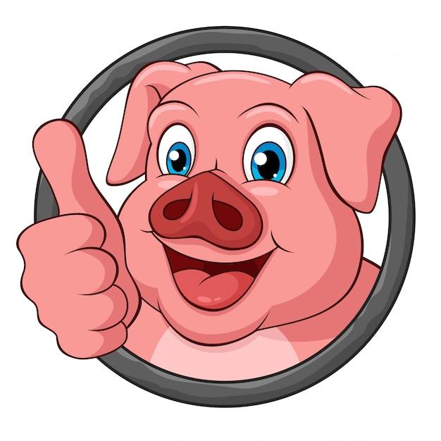 Adorable cochon avec pouce levé cartoon dans un cadre rond Vecteur Premium