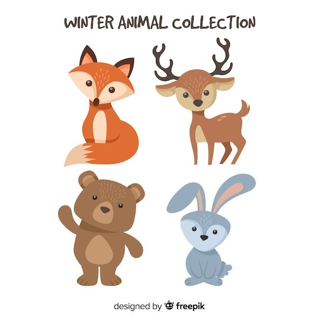 Adorable Collection D'animaux D'hiver Vecteur gratuit
