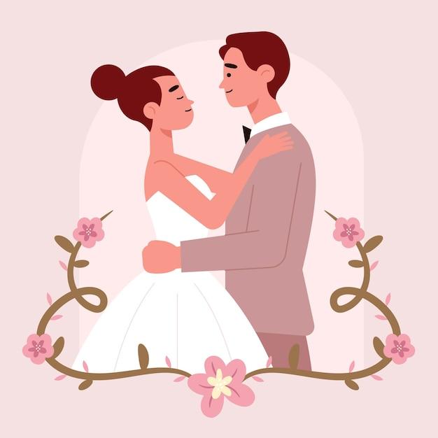Adorable Couple De Mariage Plat Vecteur gratuit