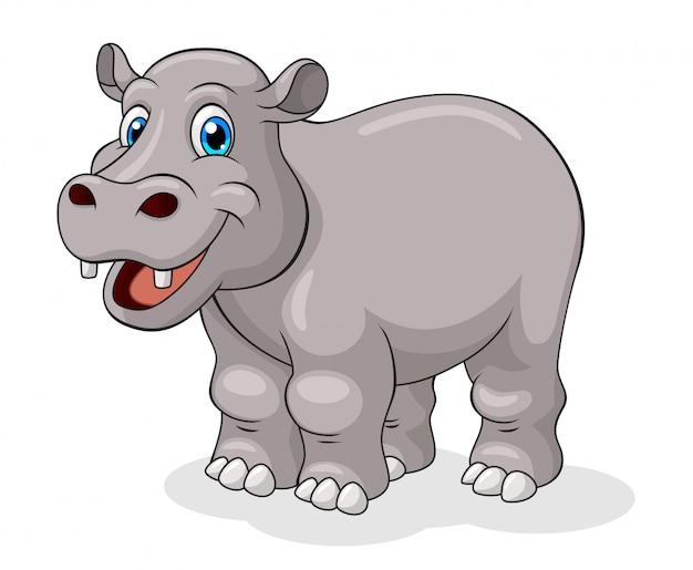 Adorable Dessin Anime D Hippopotame Vecteur Premium