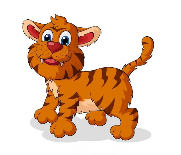 Adorable dessin animé de tigre Vecteur Premium
