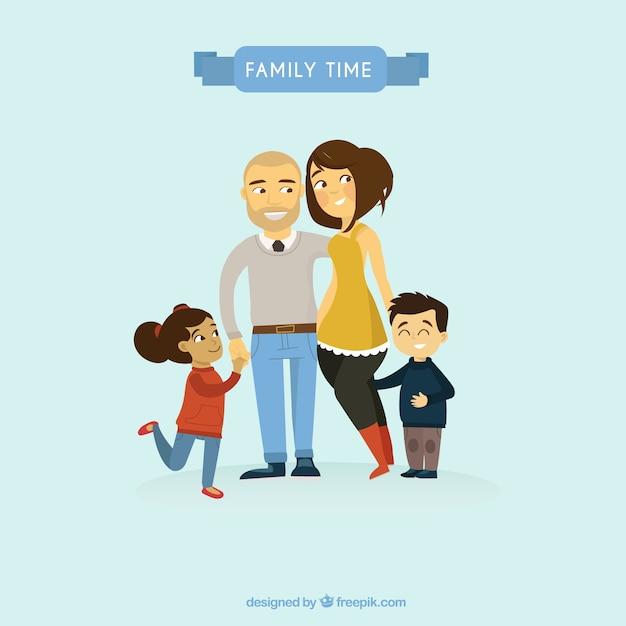 Adorable illustration de la famille Vecteur Premium