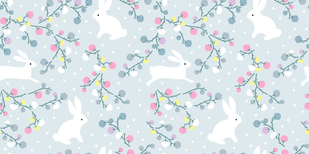 Adorable Illustration Florale Et Lapin En Jacquard Sans Soudure Vecteur Premium