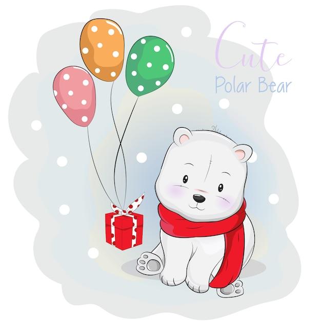 Adorable ours polaire recevant un cadeau avec ballon Vecteur Premium