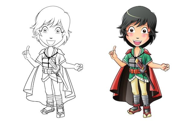 Adorable Page De Coloriage De Dessin Animé De Samouraï Pour Les Enfants Vecteur Premium