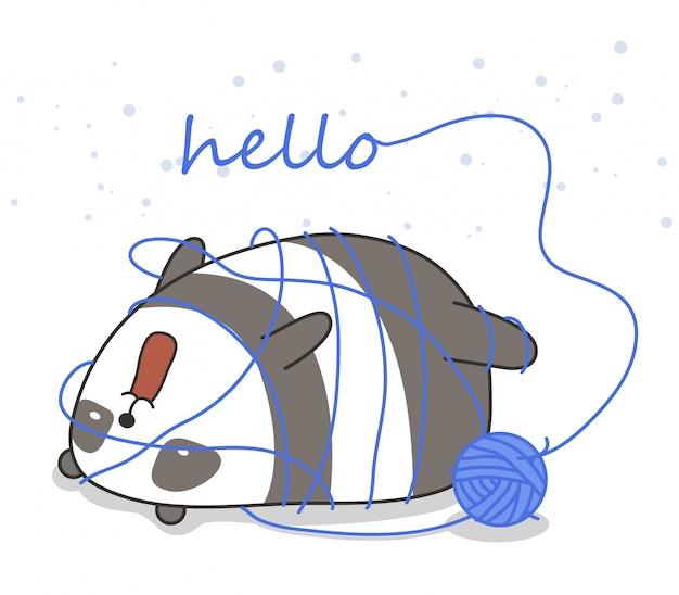 Adorable Panda Avec Un Fil Vecteur Premium