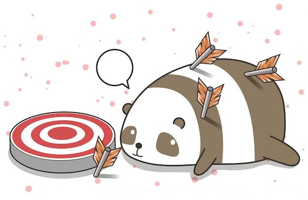 Adorable personnage de panda avec des flèches Vecteur Premium