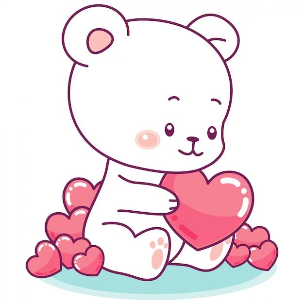 Adorable petit ours blanc entouré de cœurs gonflés de rose Vecteur Premium