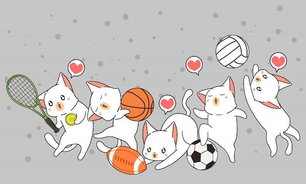 Adorables chats et instrument de sport Vecteur Premium