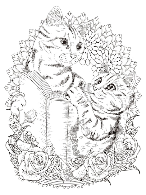 Adorables Chats Avec Livre Et Décorations Florales Pour Adultes Vecteur Premium