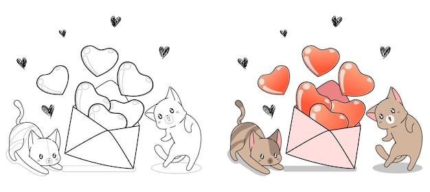 Adorables Chats Ouvrent La Page De Coloriage De Dessin Animé De Lettre D'amour Pour Les Enfants Vecteur Premium