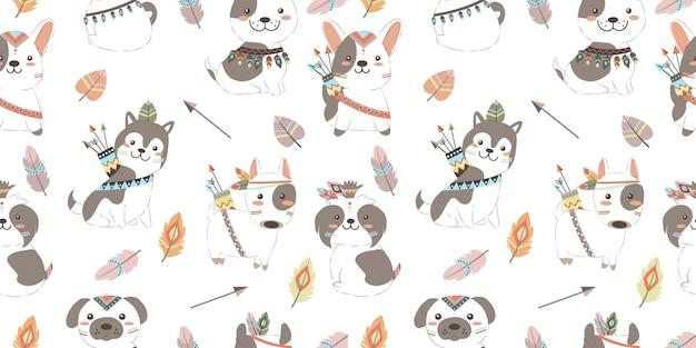 Adorables chiots boho en seamless pattern Vecteur Premium