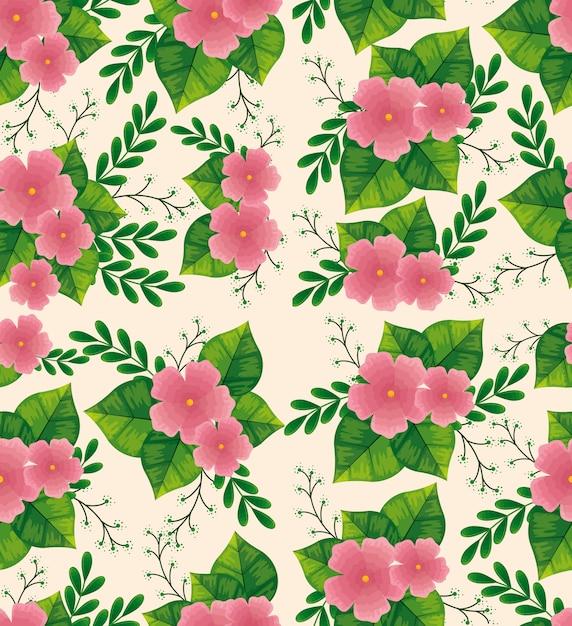 Adorables Fleurs Roses Avec Motif De Feuilles Vecteur gratuit