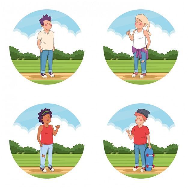 Ados amis au parc dessins animés Vecteur gratuit