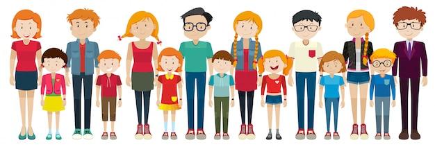 Adultes et enfants debout Vecteur gratuit