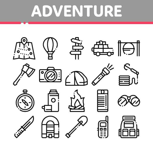 Adventure collection elements icons set Vecteur Premium