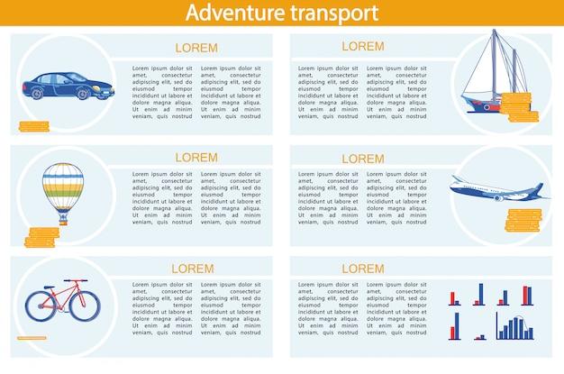 Adventure transport infographic set avec véhicule. Vecteur Premium