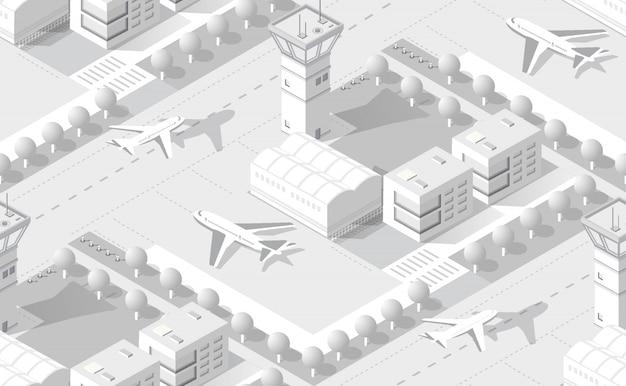 Aéroport Blanc Isométrique Vecteur Premium