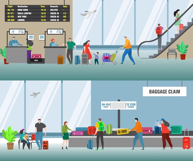 Aéroport Avec Comptoir D'enregistrement Des Vols Des Compagnies Aériennes Et Personnes Dans La Zone De Récupération Des Bagages. Terminal De L'aéroport. Vecteur Premium