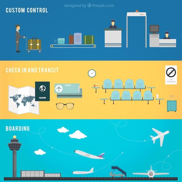 Aéroport contrôle bannières Vecteur gratuit