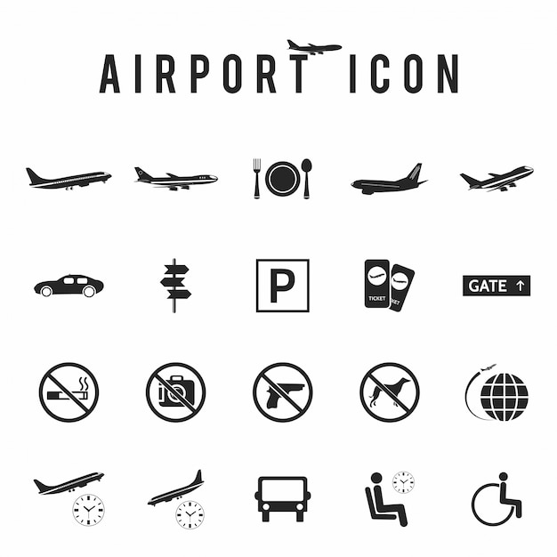 Aéroport icon set Vecteur gratuit