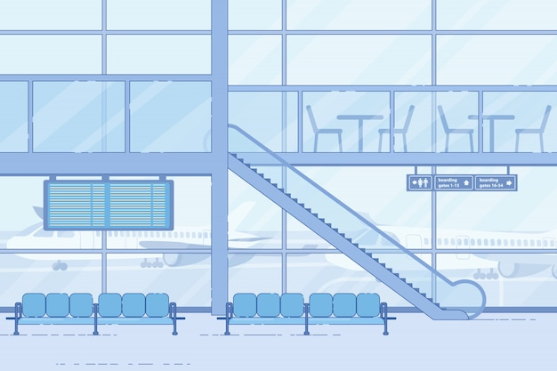 Aéroport Moderne En Attente, Zone Lounge De Style Plat Vecteur Premium