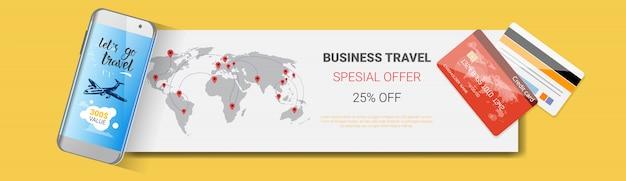 Affaire offre spéciale de voyage d'affaires affiche du modèle de compagnie de tourisme bannière horizontale Vecteur Premium