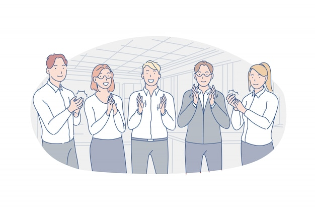 Affaires, équipe, Félicitations, Applaudissements Illustration Vecteur Premium