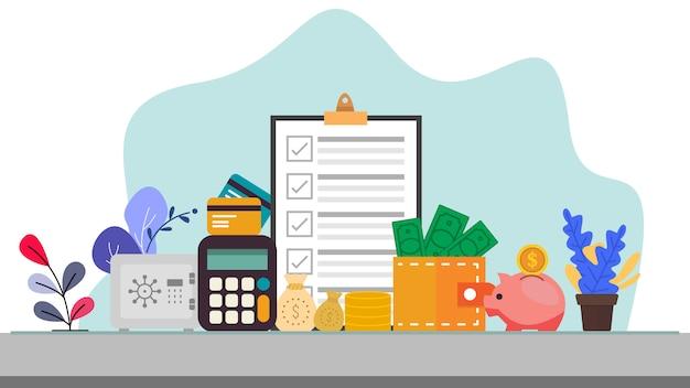 Affaires et finances concept illustration vectorielle dans la conception de style plat Vecteur Premium