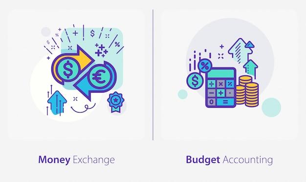 Affaires et finances icônes, échange d'argent, comptabilité budgétaire Vecteur Premium