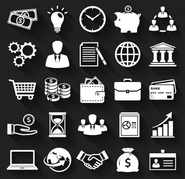 Affaires Et Finances Icônes Plats. Vecteur Premium